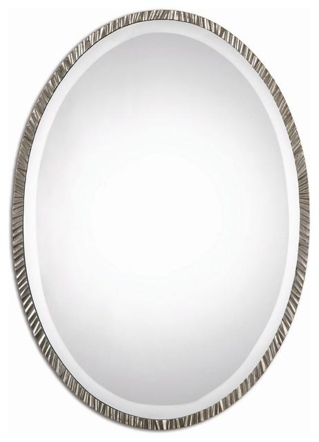 Classic Contemporary Silver Oval Wall Mirror.