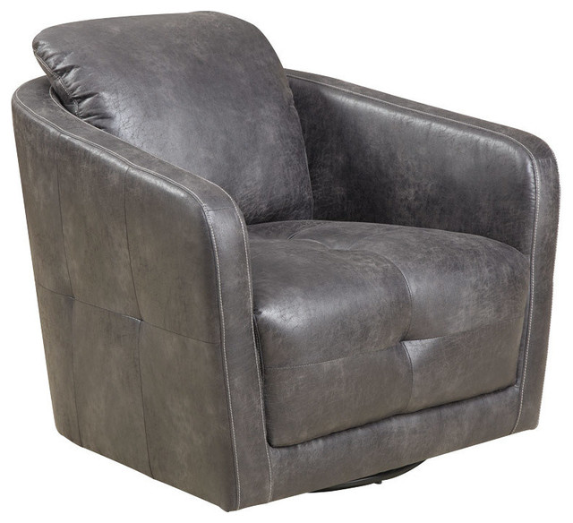 Blakely Gray Accent Chair With Faux Leather Upholstery