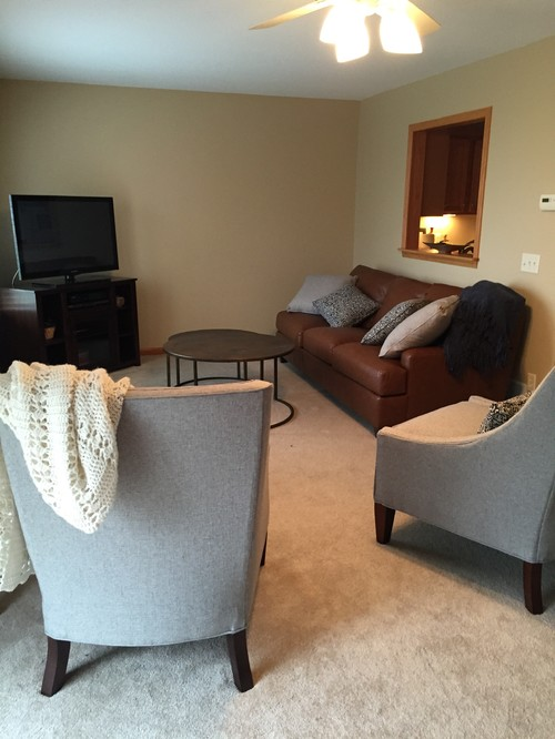 Recently Moved Into New Condo And Have Purchased Furniture Saddle Brown Leather Couch Grey Chairs Pillows With Navy Accent