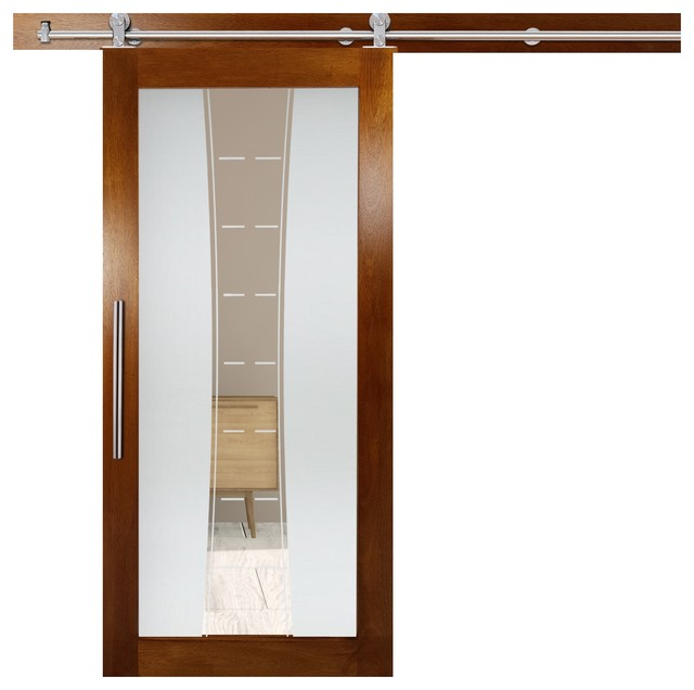 Genuine Solid Tropical Oak Wood Sliding Barn Door With Gl Insert Right