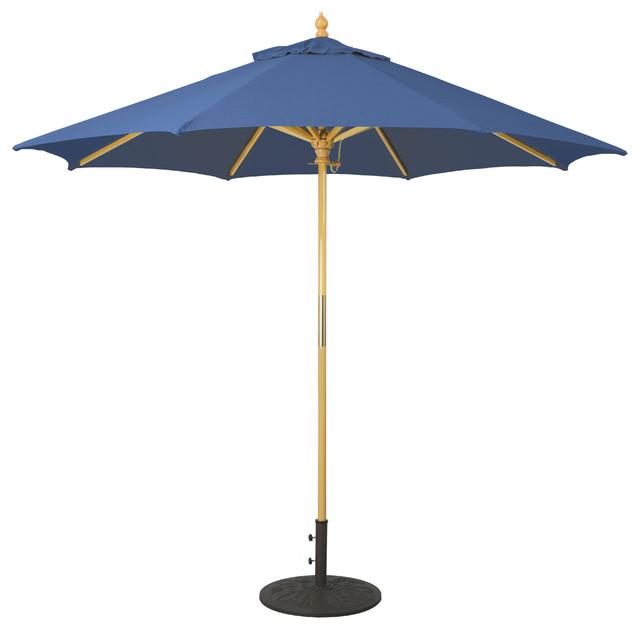 9u0027 Wooden Patio Umbrella With Manual Lift, ...