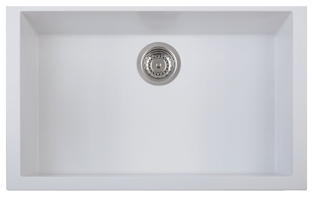 Alfi Trade Undermount Single Bowl Granite Composite Kitchen Sink White 30