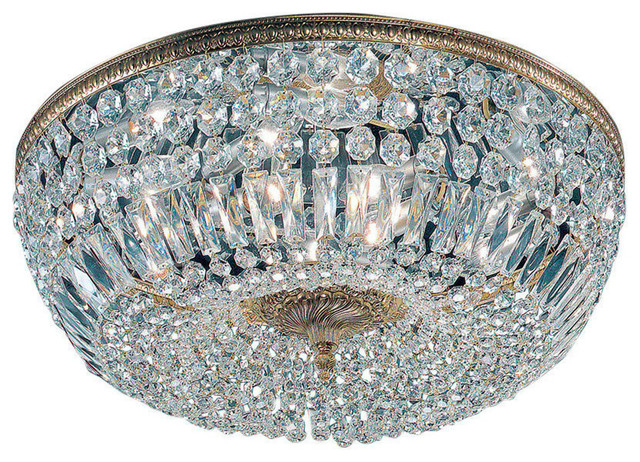 Crystal Baskets Olde World Bronze Traditional Flush Mount Ceiling