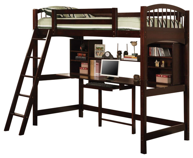 Coaster Youth Twin Workstation Loft Bed, Cappuccino.