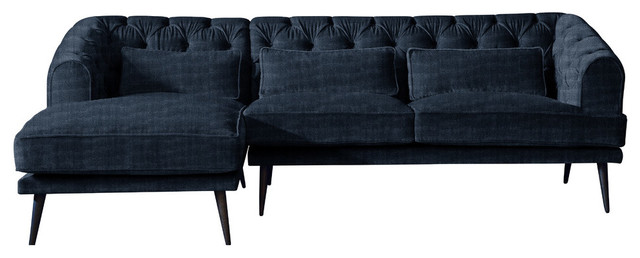 Earl Grey Chaise Sofa, Navy, 3 Seater, Left Hand Facing