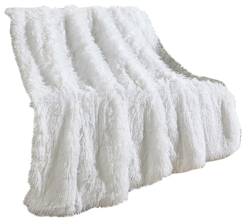 "Elana Throw Blanket, White, 50""x60"""