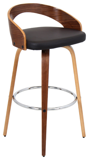 Grotto Bar Stool Walnut and Brown contemporary-bar-stools-and-counter  sc 1 st  Houzz : bar chair stool - islam-shia.org