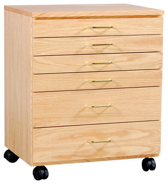 Oak Taboret, 6-Drawer, Vanguard, Natural Oak transitional-office-carts ...