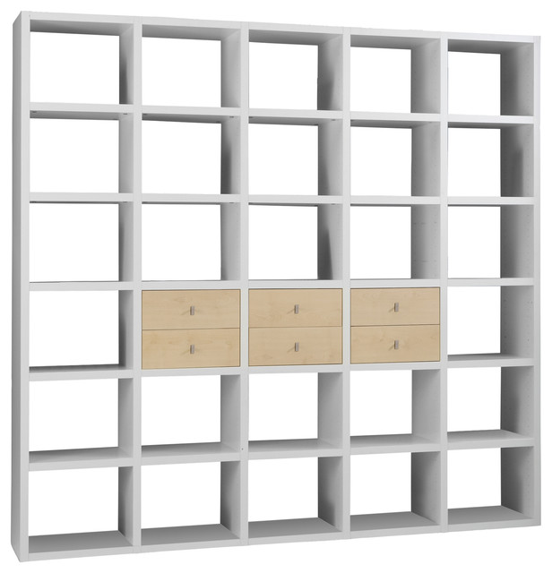 Torero White Bookcase Room Divider With Drawers