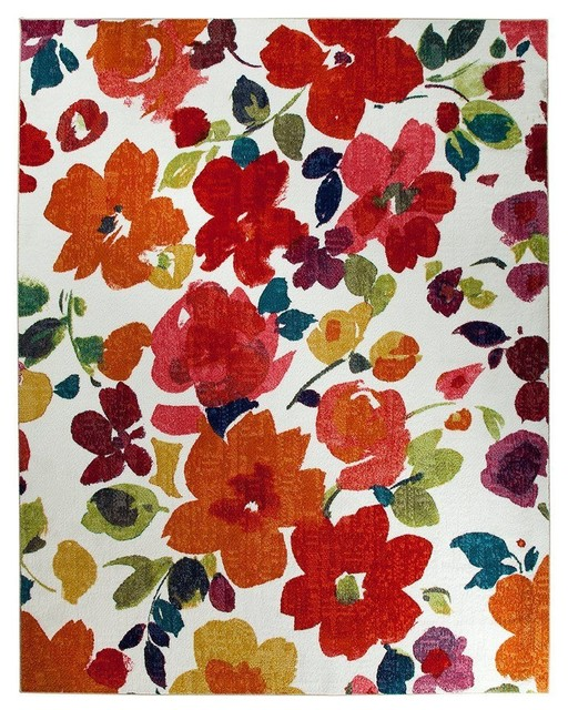 Country And Floral Bright Floral Toss Rectangle Multi Area Rug, 5u0027x8u0027 Asian