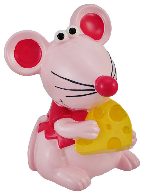 Pink mouse and cheese children s coin bank 6 in for Piggy bank for toddlers