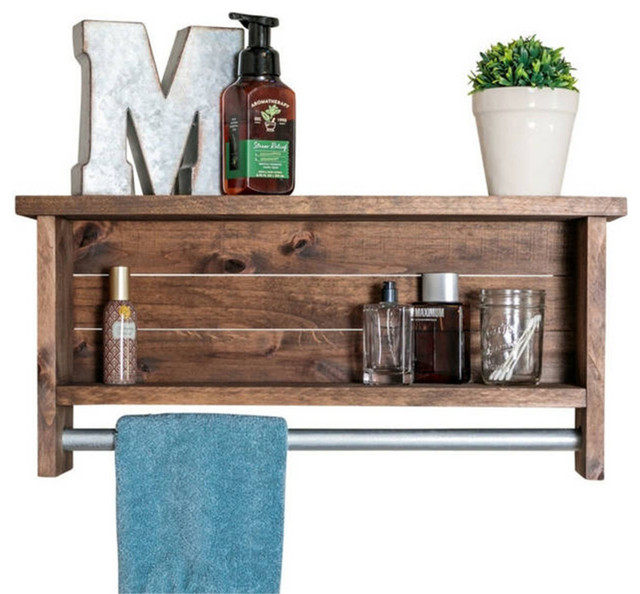Bathroom Shelf With Towel Bar Rustic Bathroom Shelves By