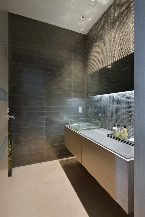 Organic Materials Are The Key Element In This Zen Minimalist Bathroom Design Modern Interiors By Michael Wolk Associates