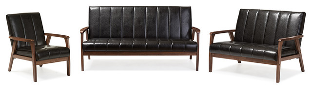 nikko faux leather 3 pieces living room sets midcentury