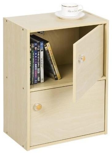 Furinno 11201SBE Pasir 2 Tier Bookcase With 2 Door/Round Handle, Steam Beech