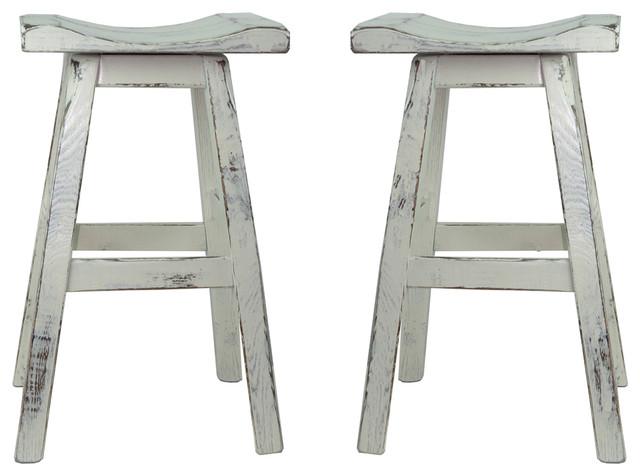 Swivel White Distressed Saddle Seat