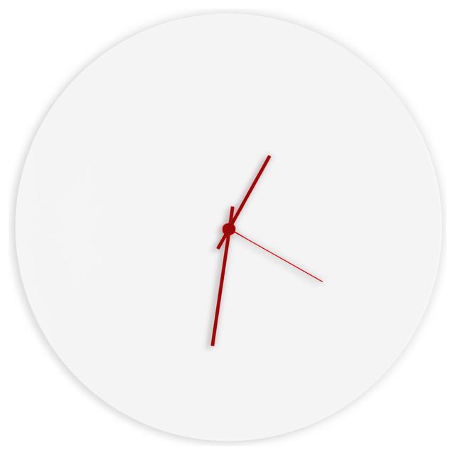 Whiteout Red Circle Clock Modern Minimalist White Wall Clocks Hands