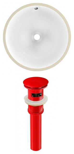 Round Undermount Sink Set, Red Hardware, Overflow Drain Included, White, 16.5.
