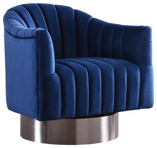 Farrah Navy Velvet Accent Chair