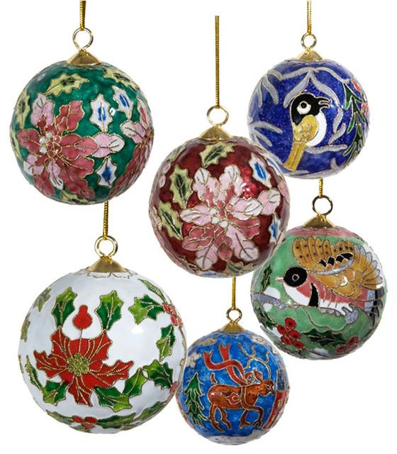 Christmas Ball Ornaments.Cloisonne Christmas Ball Ornaments Set Of 6