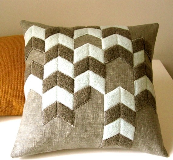 Chevron Pattern Pillow Made from Recycled Wool by PLYtextiles