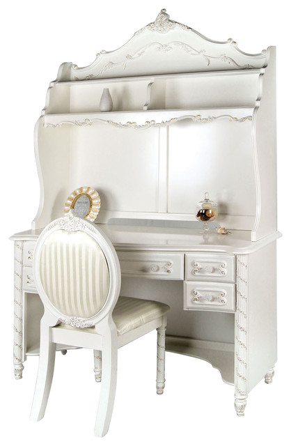 Victoria Fairy Tale Style Girls Pearl White 5Drawer Computer