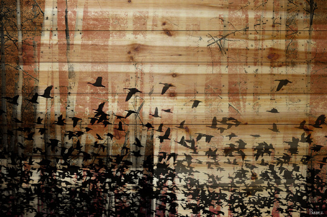 """aspen Wood"" Uv Ink Print On Natural Pine Wood, 36""x24""."