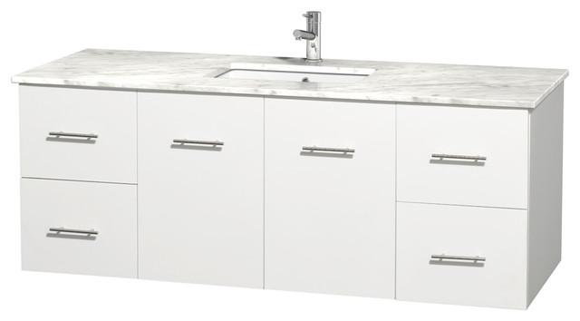 Centra 60 Single Vanity White Countertop Undermount Square Sink No Mirror