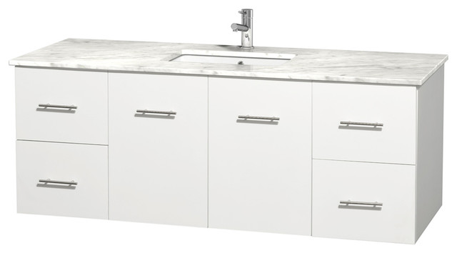 "centra 60"" single vanity in white, countertop, undermount square"