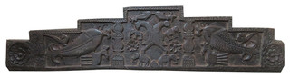 Consigned, Headboard Double Headed Eagles Fish Elephant Carved Wall Sculpture