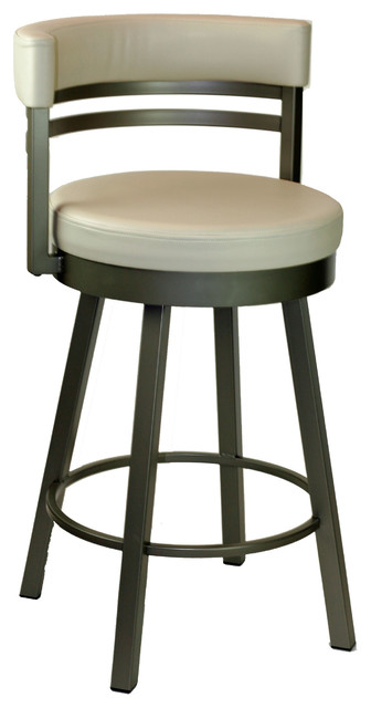 Round Swivel Stool With Metal Base, Oyster, Counter Seat