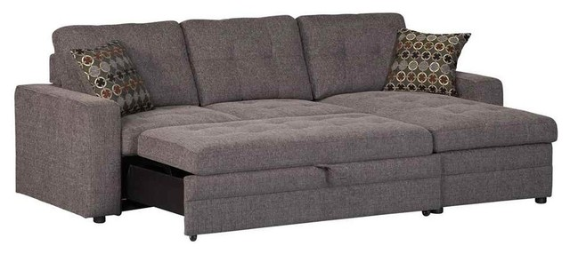 out pull black with pullout favian flannelette bed sleeper sectional