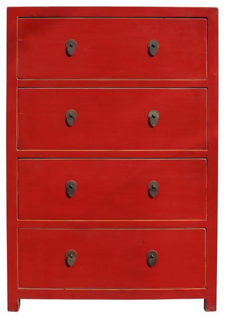Golden Lotus Chinese Distressed Red 4 Drawers Storage