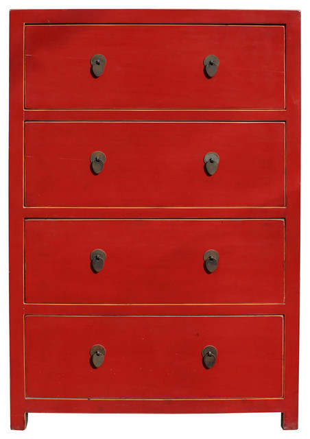 Chinese Distressed Red 4 Drawers Storage Dresser Cabinet Cs2320