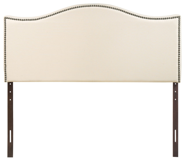 Curl King Nailhead Upholstered Headboard, Ivory.