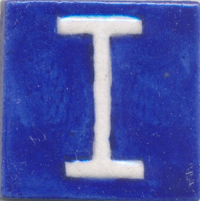 """Ceramic Tiles 2""""x 2"""", I, Set of 5 Tiles"""