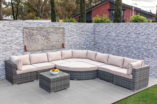 Moda Furnishings Outdoor Wicker Furniture Amalfi Angled Corner Sofa Set 11