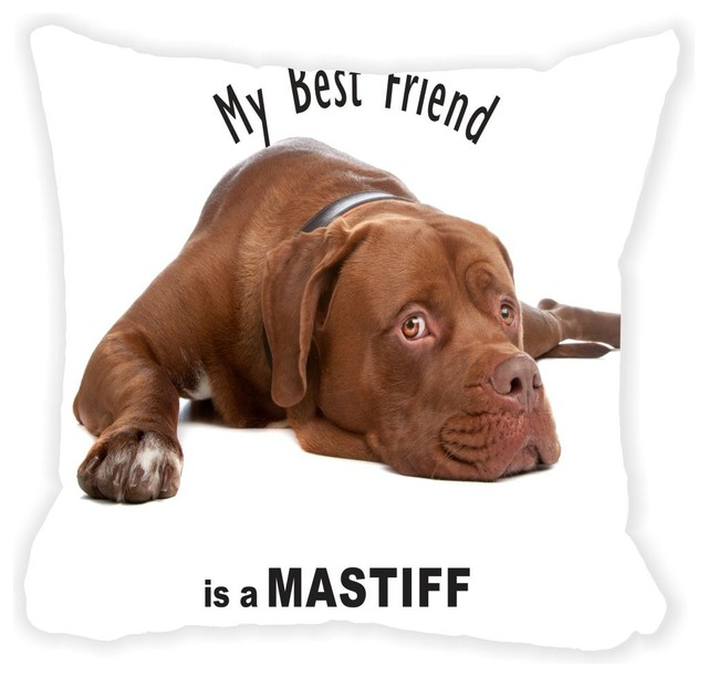 Brown Microfiber Throw Pillows : My Best Friend Is A Brown Mastiff Dog Microfiber Throw Pillow - Contemporary - Decorative ...
