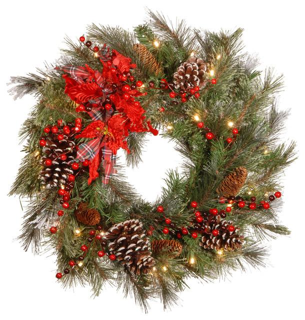 "24"" Decorative Collection Tartan Plaid Wreath, Warm White LED Lights"