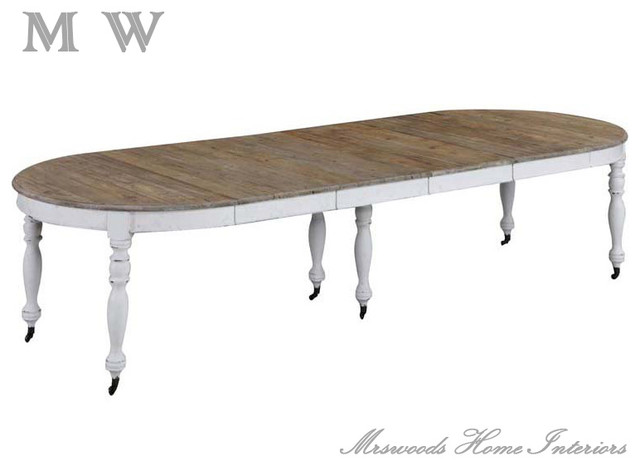 french country reclaimed pine oval extendable dining table with