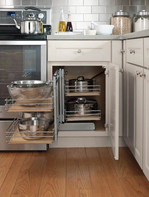 Organizing Features: Blind corner base cabinet with pull-out - Traditional - Kitchen Storage And ...