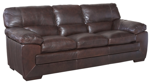 Simon Li Leather Sofa, Black Oak.