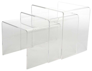 Baxton Studio Acrylic Black Table 3-Piece Table Set Display Stands - Contemporary - Dining ...