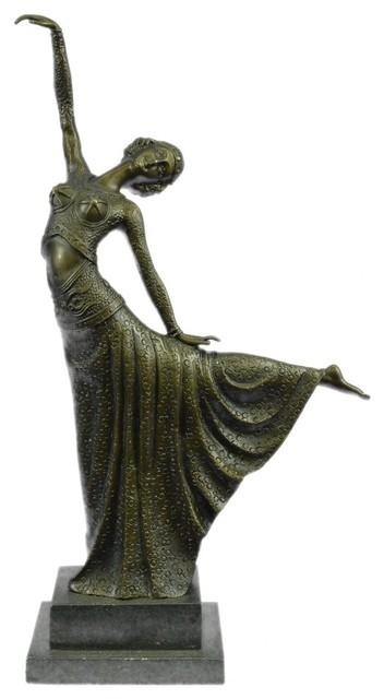 usa bronze signed chiparus elegant dancer in arabesque art deco bronze sculpture reviews houzz. Black Bedroom Furniture Sets. Home Design Ideas