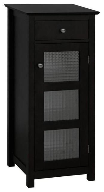 Chesterfield Floor Cabinet In Espresso W Glass Panel Door