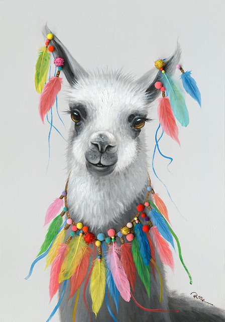 """""""feathered Llama"""" Oil Painting With Feathers G0497g."""