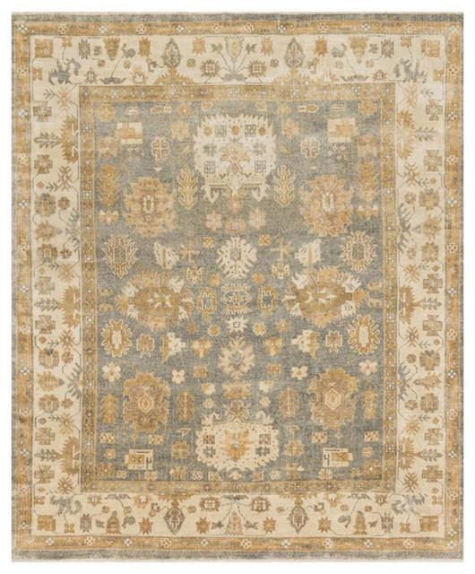Bazaar Blue Ivory Oushak Wool Rug