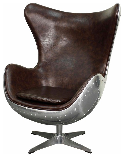 Axis PU Swivel Rocker Chair, Distressed Java  Industrial Armchairs And Accent