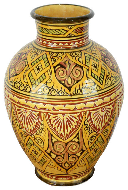 Medium Size Hand Painted Ceramic Vase Yellow Design 2