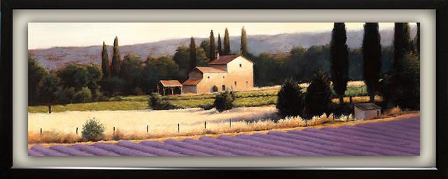 """lavender Fields Panel Ii"" By James Wiens, With Single Mat Float, Black, 15""x39""."